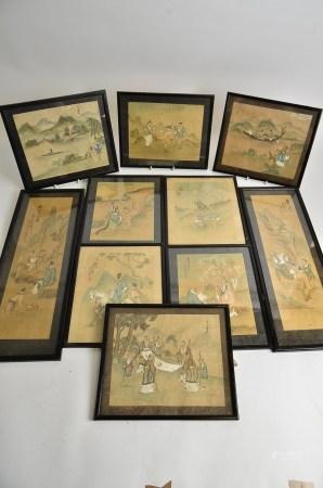 Ten Chinese silk prints, depicting elders, dignitaries, children, horse riders, immortals, games