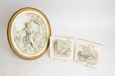 Two Victorian Minton transfer printed tiles depicting women in a rural idyll, 15.5cm, together