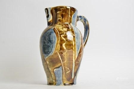 David Farland (b.1941) stoneware jug, with cream slip, iron ash glaze and brushwork decoration,