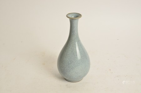 A Chinese Song style vase, of ovoid shape, with long neck and crackleware glaze, former collector'