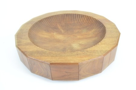 Alan Peters OBE (1933-2009), for Aller Studios, a mahogany centrepiece, the sunken scalloped