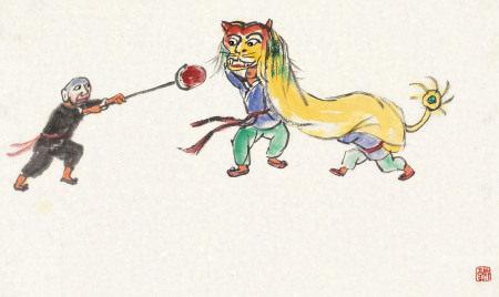 关良(1900~1986) 舞狮 镜心 纸本