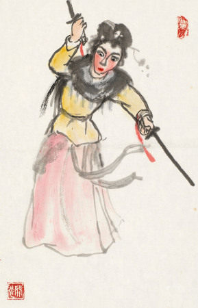 关良(1900~1986) 白蛇传 镜心 纸本