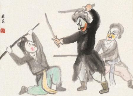 关良(1900~1986) 武剧图 立轴 纸本