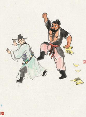 关良(1900~1986) 水浒故事 镜心 纸本