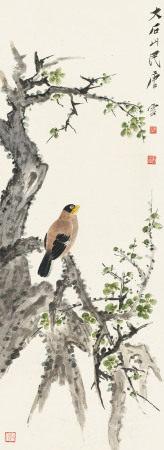 唐云(1910~1993) 画眉绿萼 立轴 纸本