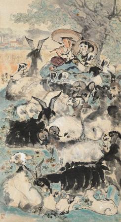 程十发(1921~2007) 1960年作 牧野春歌 立轴 纸本