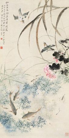 唐云(1910~1993) 1942年作 湖塘幽趣 立轴 纸本