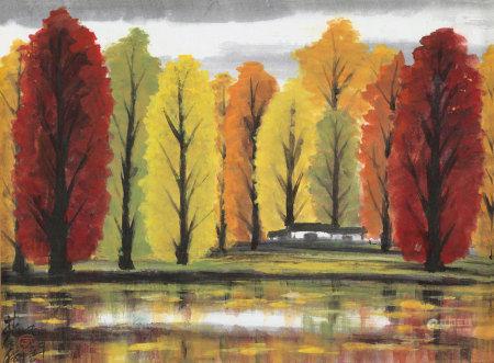 林风眠(1900~1991) 1975年作 秋林霜意 镜心 纸本