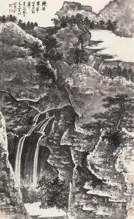 谢稚柳(1910~1997) 1989年作 绝谷茅亭 镜心 纸本