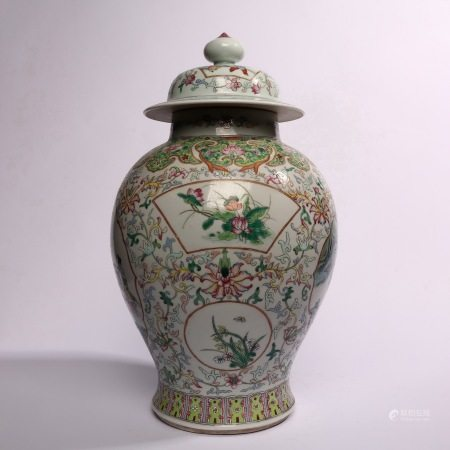 General's pot decorated with rose flowers