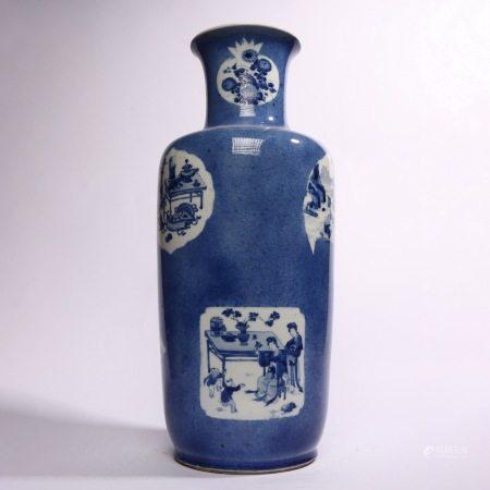Vase with sky blue glaze and figure flower pattern