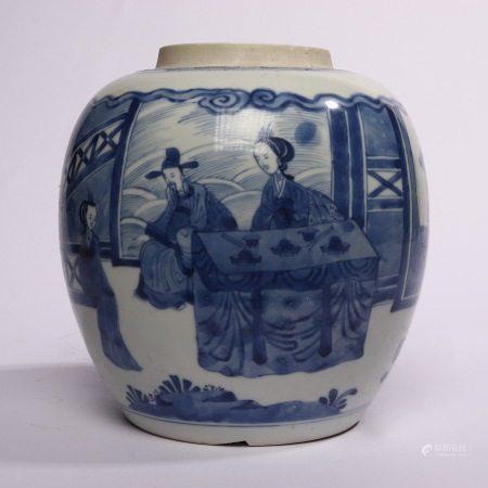 Blue and white flower Phoenix Decoration pot