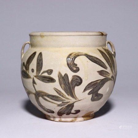 Peony double system pot of Cizhou kiln in Jin Dynasty