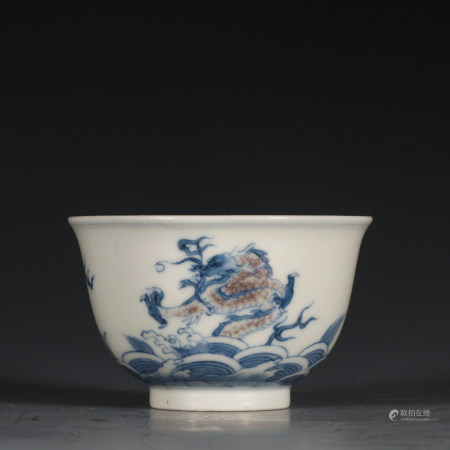 CHINESE BLUE WHITE IRON RED PORCELAIN CUP