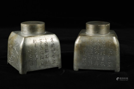 CHINESE PEWTER TEA CATTY, PAIR