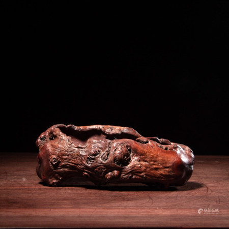 CHINESE NATURAL BURL WOOD WATER COUPE