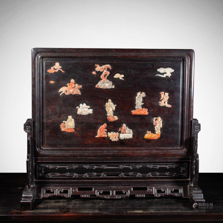 CHINESE ROSEWOOD TABLE SCREEN, EIGHT IMMORTAL SCEN