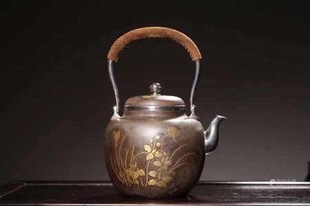 CHINESE MIX METAL AND SILVER TEA POT