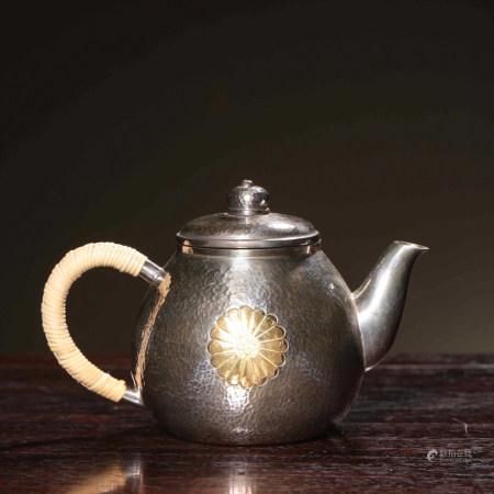 CHINESE GILT SILVER TEA POT