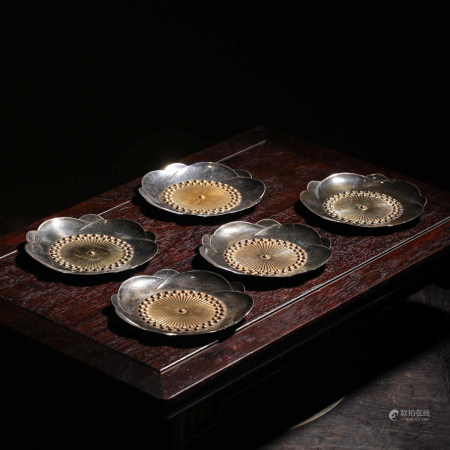 CHINESE SILVER CUP SAUCERS, 5 PIECES