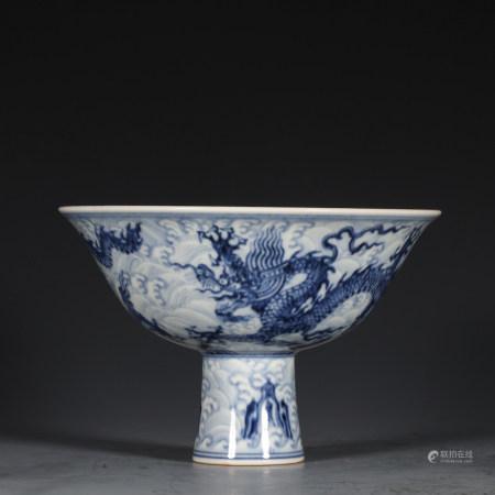 CHINESE BLUE WHITE DRAGON PORCELAIN STEM BOWL