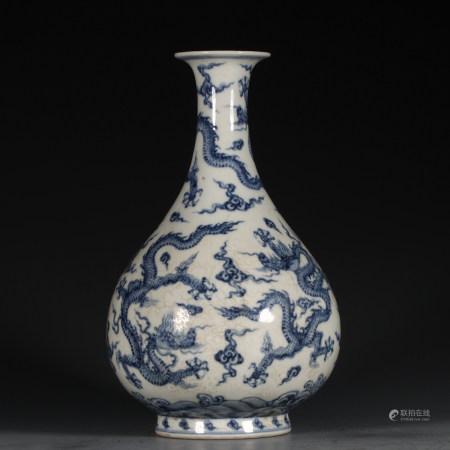 CHINESE BLUE WHITE DRAGON YUHUCHUN VASE
