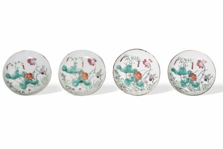 A Set of Four 'Lotus' Plates,Qing Dynasty清 莲花纹图盘 一组四件