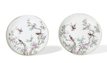 A Pair of 'Sparrow' Plates, Guangxu Period, Qing Dynasty清光绪 喜上眉梢纹图盘 一对 光绪年制款