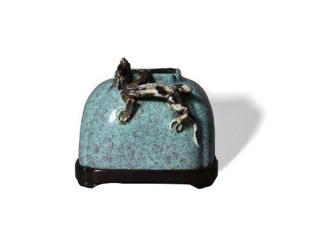 A 'Robin's-Egg'-Glazed Brushwasher清 炉钧釉螭龙纹水盂