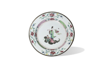 A Famille-Rose 'Lady Ma' Plate, Yongzheng Period, Qing Dynasty清雍正 粉彩麻姑献寿图盘