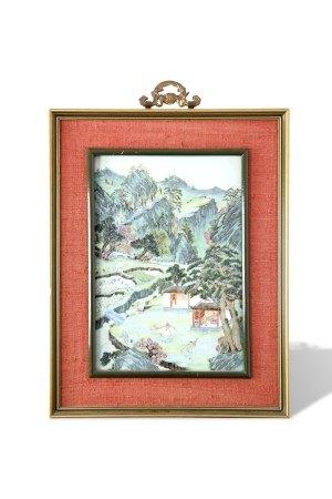 A Famille-Rose 'Figure' Porcelain Plaque, Qianlong Period, Qing Dynasty清乾隆 粉彩渔樵耕读瓷板挂屏