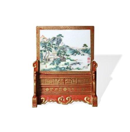 A Famille-Rose 'Landscape' Tablescreen, Republic Period or Qing Dynasty, Qianlong Mark 民国或清 粉彩山水纹插屏 乾隆年制款