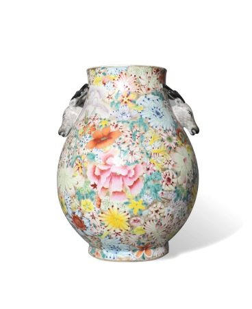 A Gilt-Ground Famille-Rose 'Mille Fleurs' Jar, Republic Period民国 粉彩万花锦纹鹿头尊 大清乾隆年制款