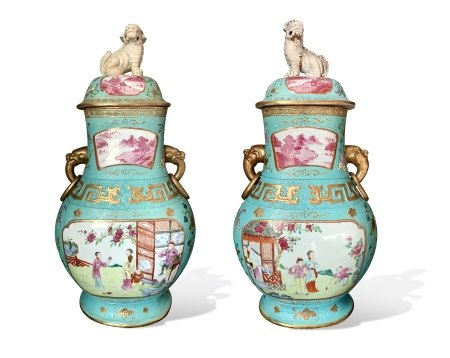 A Pair of Turquoise-Pearl-Ground 'Figure' Vases, Hu with Covers, Qianlong Period, Qing Dynasty 清乾隆 松石绿釉珍珠地开光庭院人物纹盖壶 一对