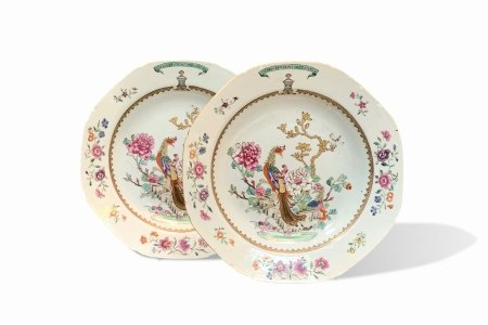 A Pair of Crested Famille-Rose Soup Plates, Qianlong Period, Qing Dynasty清乾隆 粉彩凤凰牡丹图纹八方盘 一对