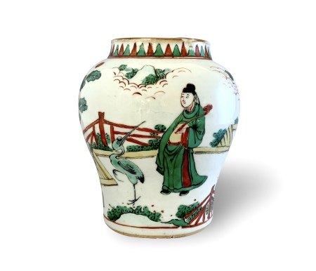 An Attractive Famille-Verte Vase, Shunzhi Period, Qing Dynasty清顺治 五彩人物故事图纹罐