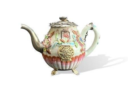 An Exuberant Famille-Rose Teapot, Yongzheng Period, Qing Dynasty清雍正 粉彩花卉镶银茶壶