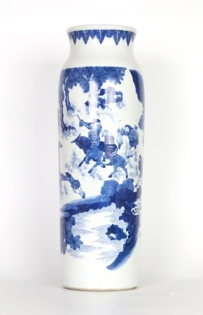 Tall Chinese Blue & White Roulean Vase
