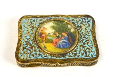 Silver Enamel Rectangular Powder Box