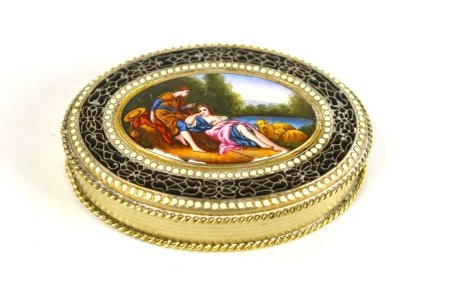 Silver Enamel Oval Box