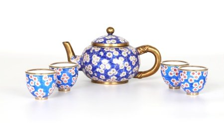Five Pcs  Chinese Enamel on Copper Tea Set