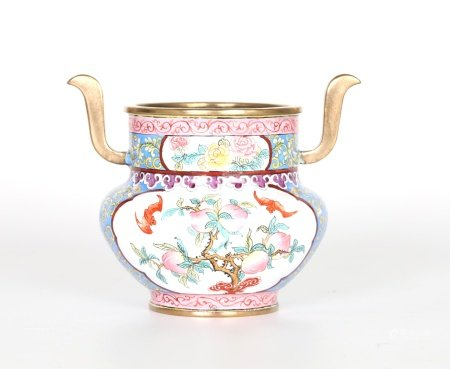 Chinese Enamel on Copper Censer