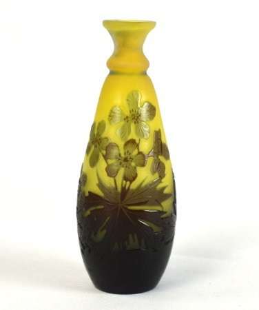 Galle Yellow Purple Art Glass Vase