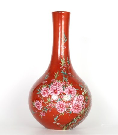 Chinese Famille Rose Copper Red Ground Vase