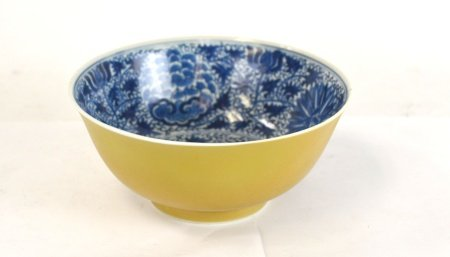 Chinese Brown Blue & White Bowl