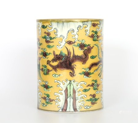 Chinese Famille Verte Yellow Ground Brush Pot