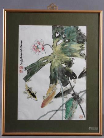 Aquarell, China, Mitte 20. JahrhundertKoi zwischen Lotus. Kalligrafie und Siegelstempel.Im