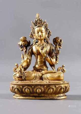Bronze-Buddha, Tara (Bodhisattvi), Tibet 18./19. JahrhundertFein ziseliert dekoriert.