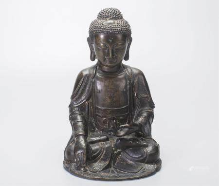 CHINESE BRONZE SEATED SHAKYAMUNI